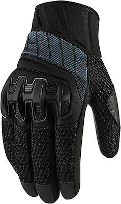 Icon Overlord Short Summer Leather Textile Mesh Motorcycle Gloves - Black
