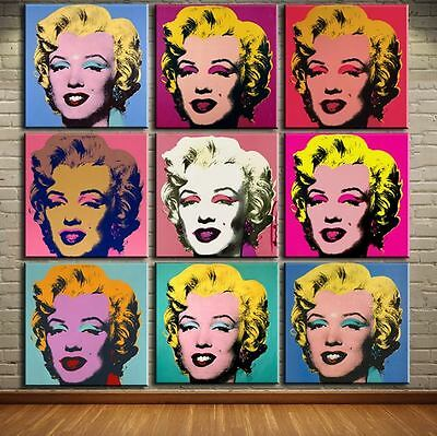 """Andy Warhol oil painting on canvas Pop Art Marilyn Monroe set of 9 Pieces 16x16"""""""
