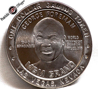 $1 Slot Token Coin Mgm Grand Casino 1995 Gdc George Foreman Boxing Las Vegas Nv