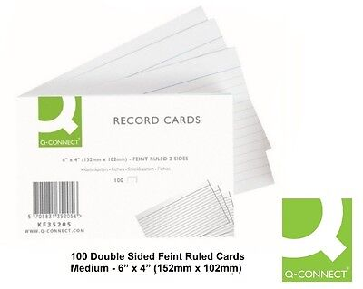 Q Connect (6 x 4 Inch) Feint Ruled Lined Revision Record Flash Card Double Sided