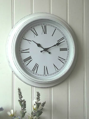 Shabby Chic LARGE WHITE WALL CLOCK Antique Vintage Style 40cm NEW