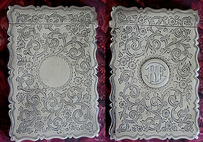 Antique 19th  UK  - Outstanding STERLING SILVER Card case