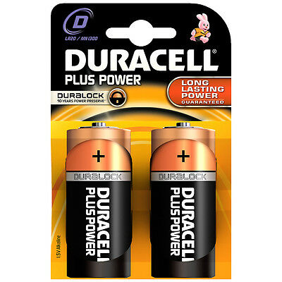 2 PCS Duracell MN1300PLUS-B2 Plus Alkaline Battery D Size - Long Lasting Power
