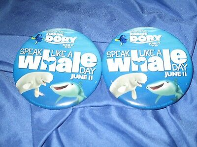FINDING DORY Speak Like a Whale Day Movie BUTTON LOT of 2 Park Exclusive DISNEY