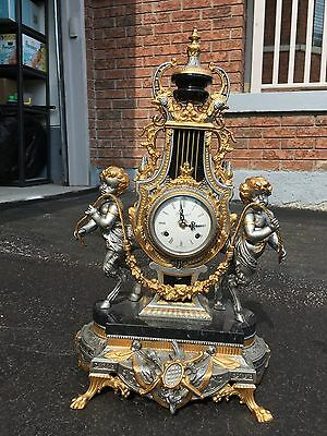 Huge Vintage Imperial Italy Brevetatto Bronze Genuine Marble Winding Clock