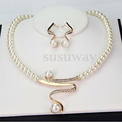 Women Prom Bridal Wedding Party Pearl Rhinestone Necklace Earrings Jewelry Set