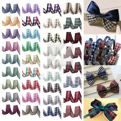 "1""  25mm 10 Yards Tartan Ribbon Gingham Plaid Woven Ribbon Craft DIY"