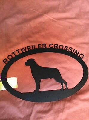"New Rottweiler Crossing Black Metal Sign  17"" x 11"""