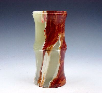 Nephrite Jade Crafted Unique Bamboo Shaped Brush Holder Pot #06121610