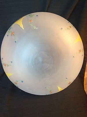 Large Antique Vintage Hanging Light Dome Shade Globe Frosted Painted Flowers