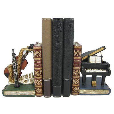 FABULOUS VINTAGE RETRO CLASSICAL INSTRUMENTS BOOKENDS HEAVY (APPROX 2.3kgs) NEW