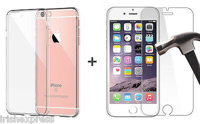 For iPhone 6 6S Slim Clear Silicone Gel Case Cover + Tempered Glass Protector