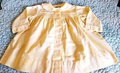 Vintage Baby Coat Yellow Spring Cotton Twill Smocked by Kate Greenaway 1950s