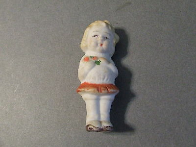 Vintage Porcelain Bisque Japan Doll Girl With Flowers (D24)