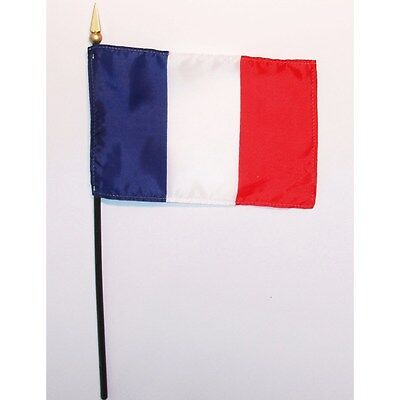 "French Flag (4"" x 6"") Polyester Fabric Flag on 10 1/2"" plastic, round ""stick"""