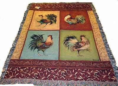 Something To Crow About ~ Roosters Tapestry Afghan Throw ~ for Cracker Barrel