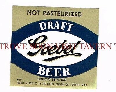 1960s Goebel Draft Detroit Beer 12oz Label Tavern Trove