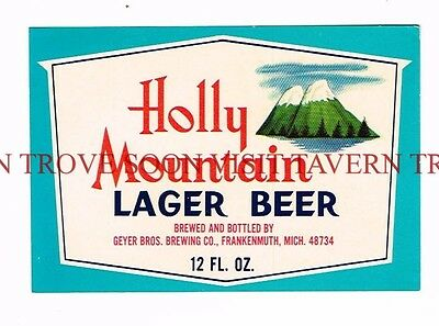 1960s Frankenmuth Holly Mountain Lager Beer 12oz Beer Label Tavern Trove