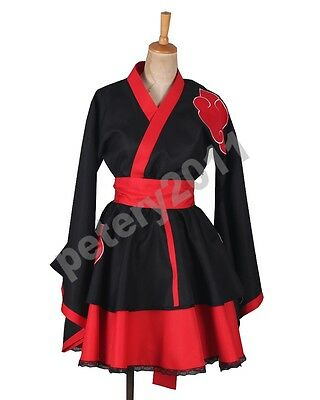 Custom-made Naruto Shippuden Akatsuki Organization Kimono Dress Cosplay Costume