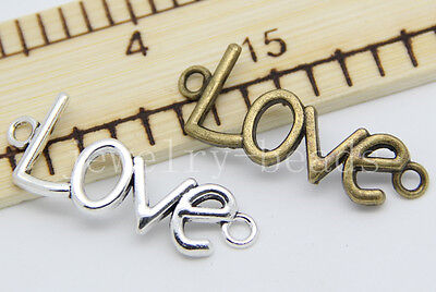 New 6/30/150pcs Antique Silver LOVE Charms pendant Connector Craft DIY 40x15mm