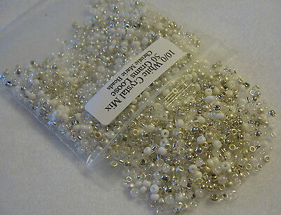 10/0 White Crystal Mix 50 Grams Loose Czech Glass Seed Beads