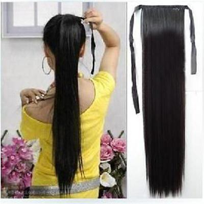 Women's Clip In Ribbon Ponytail Pony Tail Hair Wrap On Hair Piece Wigs 60cm - LD