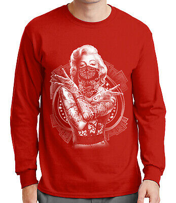 177d56d026ab Faded Marilyn Monroe Men's Long Sleeve T-shirt Tattoo Gangster Pose - 1372C