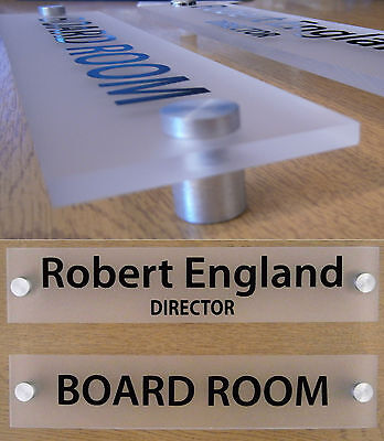 Office Door Sign/Plaque Personalised - Quality Frosted 5mm Acrylic + Stand Offs