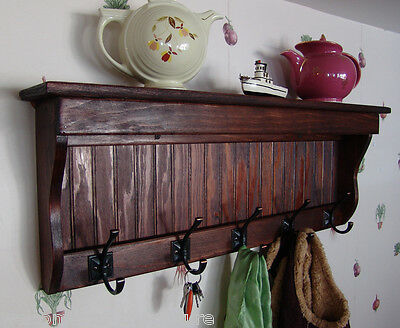 "35"" Handcrafted Wooden wall mount Coat Rack, Display Shelf, Key Hook, R Mahogany"