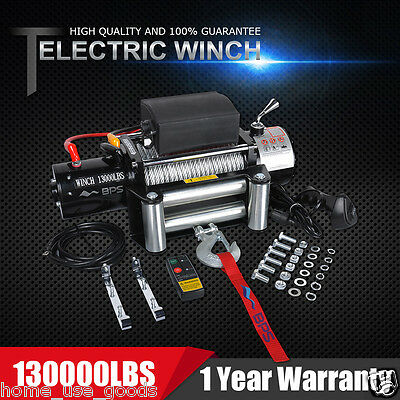12V 13000lb Heavy Duty Recovery Electric Winch Wireless Remote Control ATV Truck