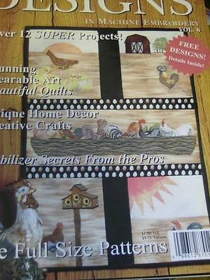 Designs In Machine Embroidery Magazine #8 Roosters, Celtic, Santa, Northern Wood