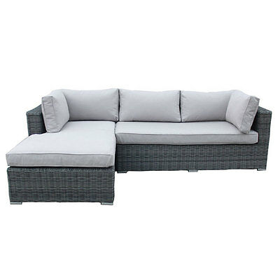 Charles Bentley Deluxe Rattan L-Shape Sofa Showerproof with Removable Cushions