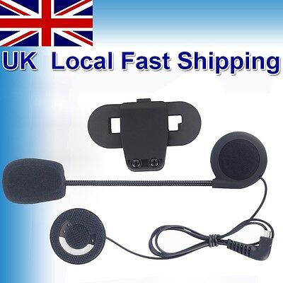 Mic/Speaker Headset+Clip for Motorcycle BT Bluetooth Interphone 800M Intercom UK