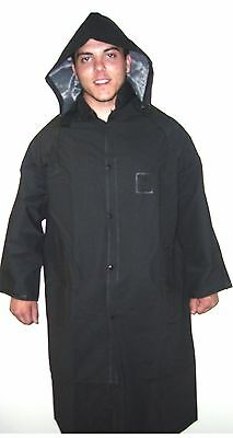 Full Long Rain Jacket with Hood - 49 inches Long - Black - Sizes to 6XL