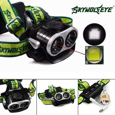 10000LM 2X XML T6 LED Rechargeable 18650 USB Headlamp Headlight Head Light Torch