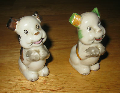 Vintage Hand Painted Oriental Salt & Pepper Dogs Shakers W/ Orig Stoppers