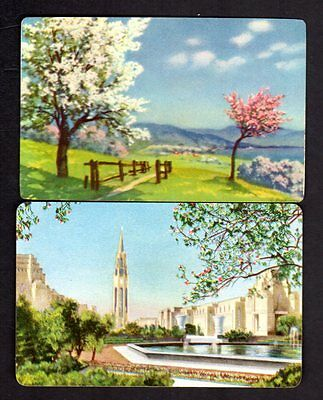Vintage Swap/Playing Cards - Pretty Scenes with Blossom Pair