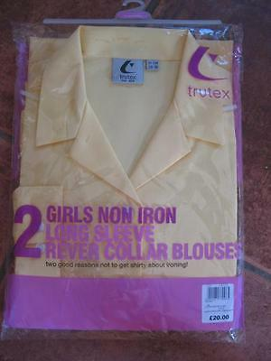 "Girls 2 pack TRUTEX non iron Gold school long-sleeve blouse 26 28 30 34"" BNIP"
