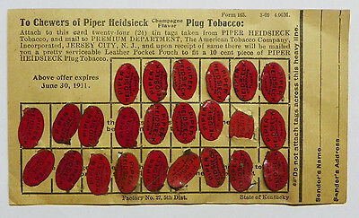 COMPLETE SET 24 Antique c.1911 Piper Heidsieck Tobacco Tin Tags on Card