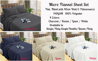 Micro Flannel / Flannelette Sheet Set Single, King Single, Double, Queen , King