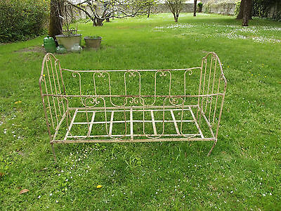 Antique Vintage French Cot Bed Original Paint Old Cast Iron Flaky Paint