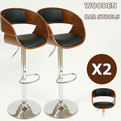2x Wooden Bar stool Kitchen Cafe Chair Dining Black White PU Leather Foam Padded