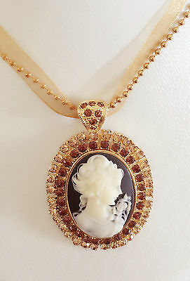 Zx211 Ribbon Beads Necklace Regal Cameo Flower /& Diamante Oval//brown Crystal