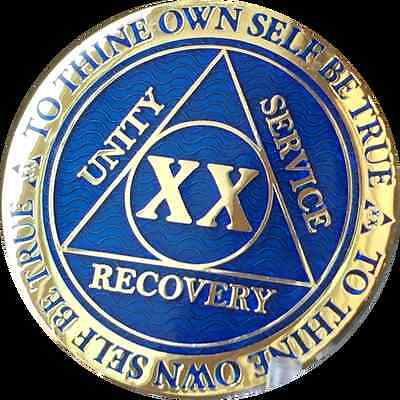 20 Year AA Medallion Blue Gold Plated Alcoholics Anonymous Sobriety Chip Coin