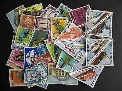 Scrap pile of 45 SURINAME. Duplicates, mixed condition,what lurks?