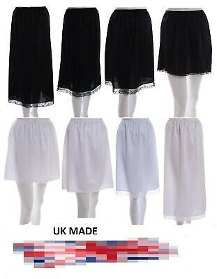 "Ladies waist half slips Black Ivory white Underskirts petticoat  length 14""-36"""