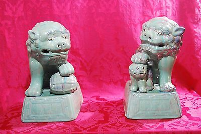 Pair of Large Asian Chinese FOO DOGS Lions Green Glaze Orange Pottery Statues