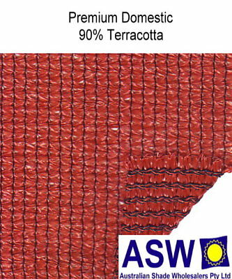 90% UV 3.66m (12') wide TERRACOTTA SHADECLOTH Domestic Plus Knitted Shade Cloth