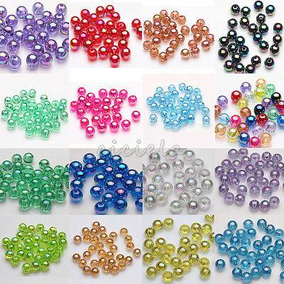 Lot 50/100Pcs Acrylic Round Plated AB Loose Spacer Beads 8mm DIY Fashion Jewelry