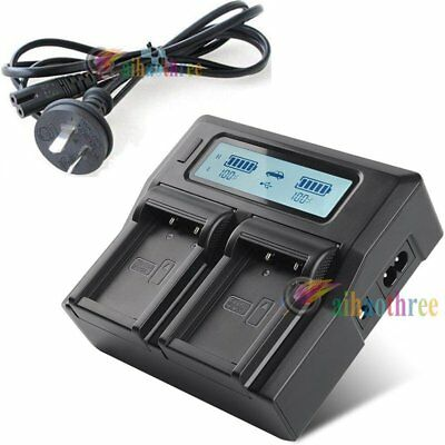 Dual Slot NP-W126 Battery Charger LCD Display +AU Plug Cable For Fuji Camera【AU】